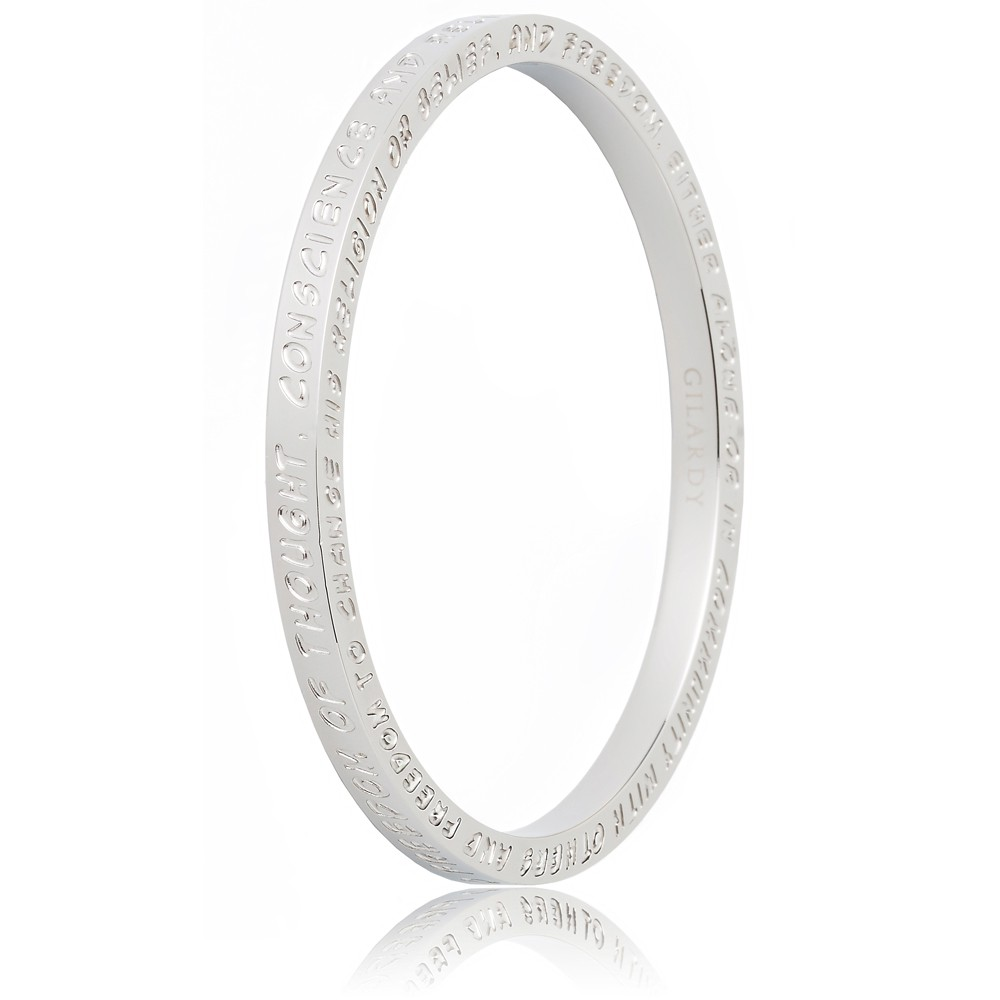 To Gilardy Human Rights Collection Bangle White Closed