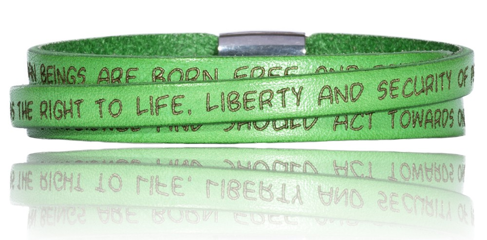 To Gilardy Human Rights Collection Leather Bracelet Green