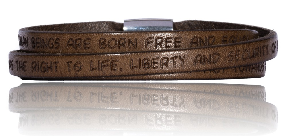 To Gilardy Human Rights Collection Leather Bracelet Mediumbrown