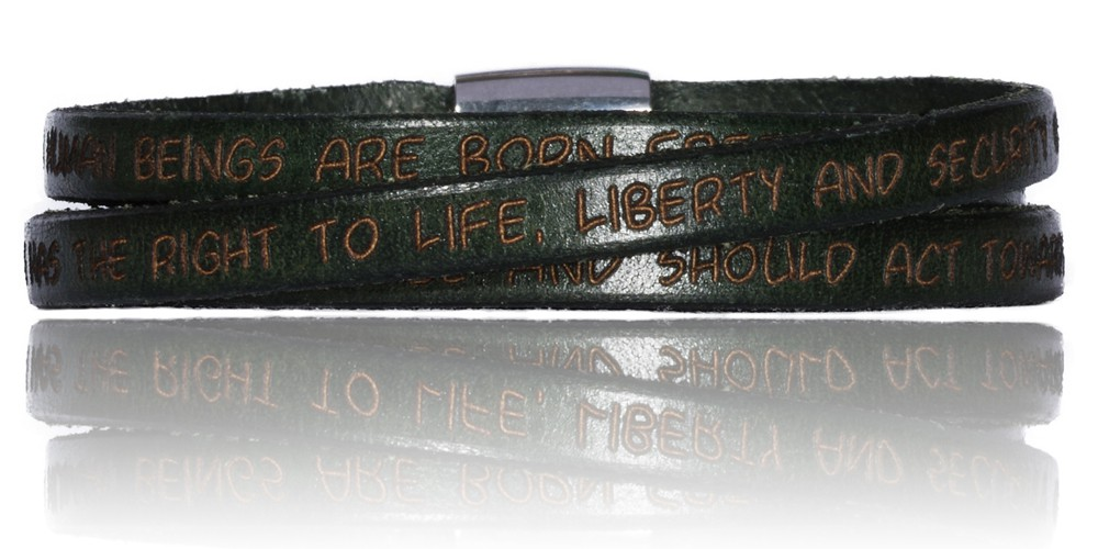 To Gilardy Human Rights Collection Leather Bracelet Militarygreen