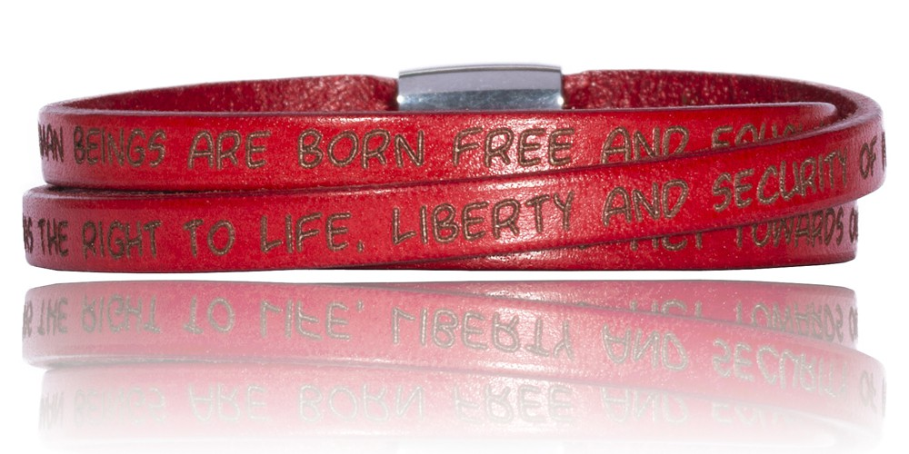 To Gilardy Human Rights Collection Leather Bracelet Red