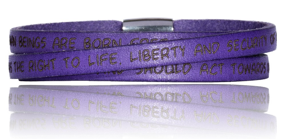 To Gilardy Human Rights Collection Leather Bracelet Violet
