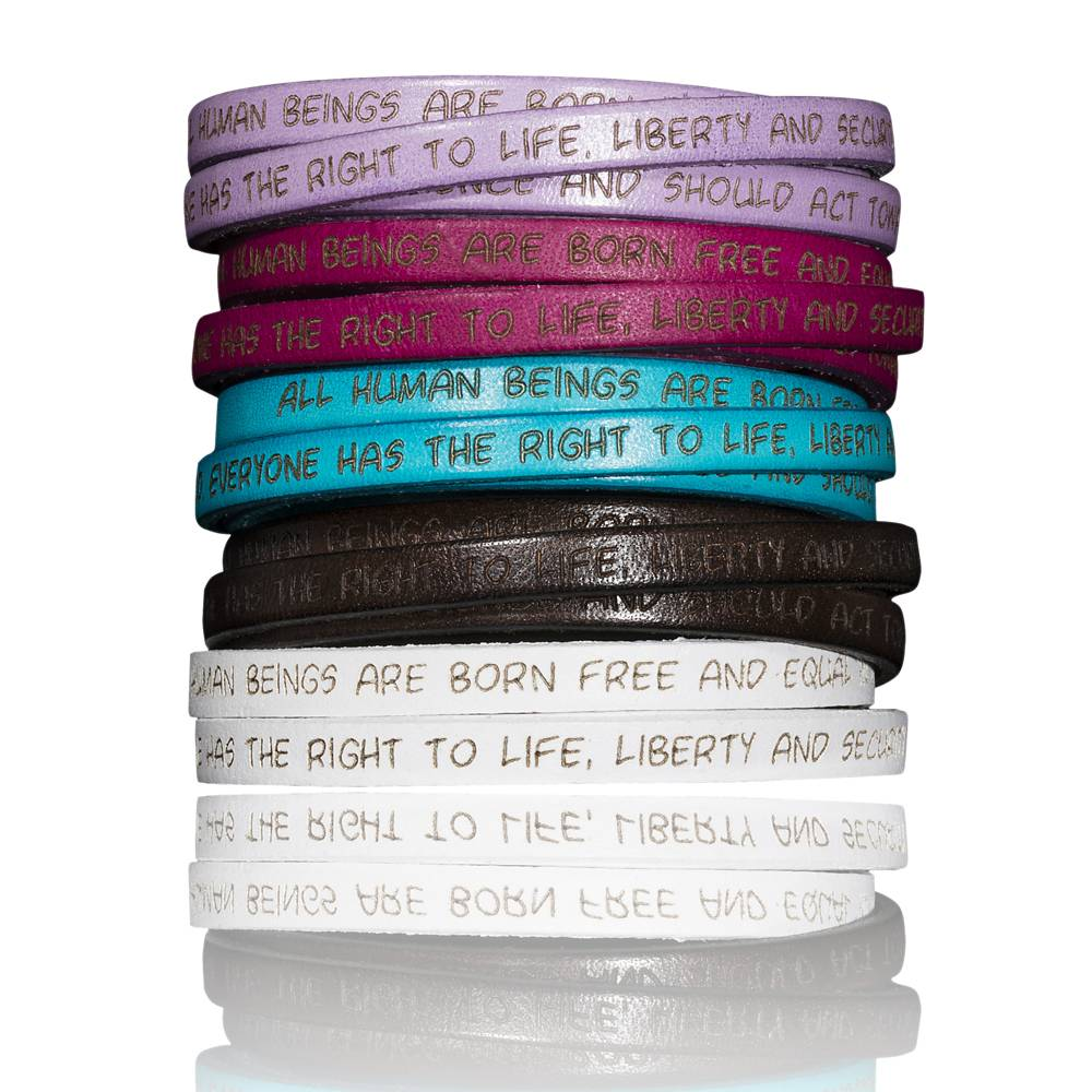 To the GILARDY HUMAN RIGHTS leather bracelets